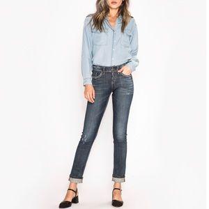 Silver Suki Ankle Slim Jeans Dark Wash Distressed